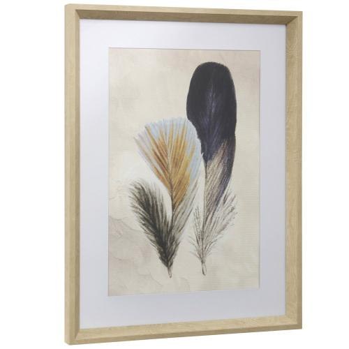 Style Craft - FEATHER FLIGHT I  17in w X 23in ht  Framed Print Under Glass with Matte