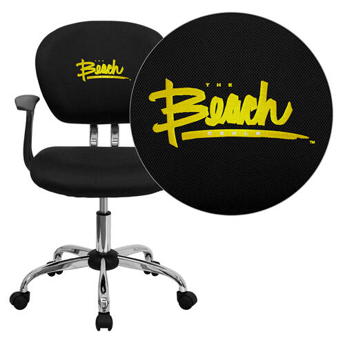 California State University - Long Beach 49ers Embroidered Black Mesh Task Chair with Arms and Chrome Base