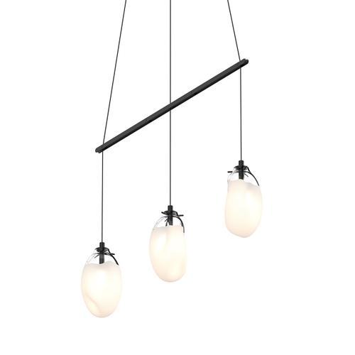 Sonneman - A Way of Light - Liquid LED Pendant [Size=3-Light Standard, Color/Finish=Satin Black w/Poured White Glass, Shape=Linear Spreader]