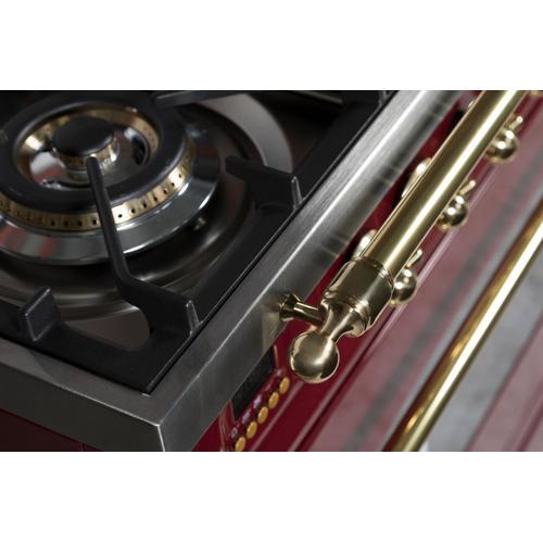 Ilve - Nostalgie 48 Inch Dual Fuel Natural Gas Freestanding Range in Burgundy with Brass Trim