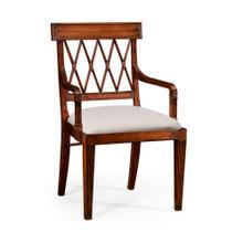Regency style lattice back dining armchair