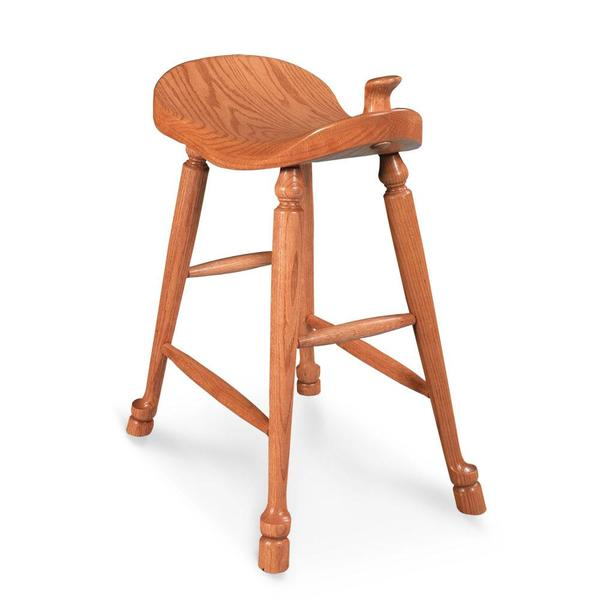 """See Details - Western Saddle Stationary Barstool, 18"""" Seat Height"""