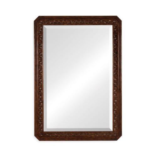 Dark oak rectangular mirror with carved rosettes