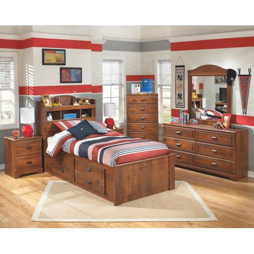 Twin Bookcase Bed With 4 Storage Drawers With Mirrored Dresser, Chest and Nightstand