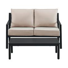 Product Image - Slat Back Upholstered Outdoor Loveseat and Coffee Table Set in Black / Beige (Component 2 of 2)