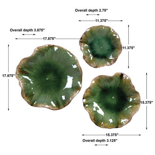 Abella Green Ceramic Wall Decor, S/3