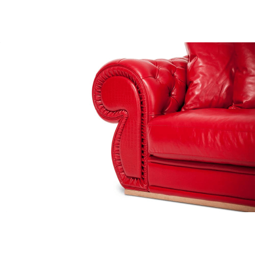 Caterina Leather MansionSofa in Scarlet RoseGold