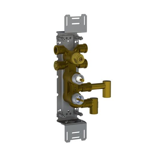 Thermostatic mixer with diverter, for vertical mounting,
