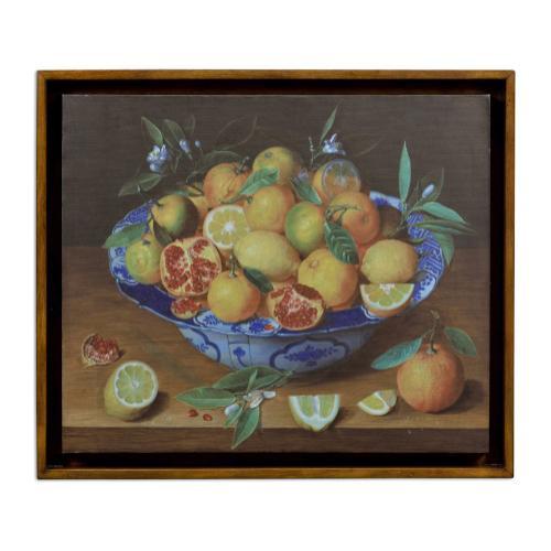 Still Life with Lemons Painting on a Honey Walnut Frame