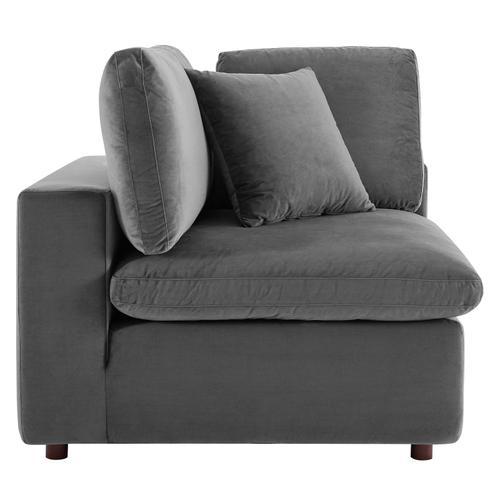 Commix Down Filled Overstuffed Performance Velvet Corner Chair in Gray