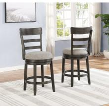 See Details - Kessel Brown Brushed Wood Swivel Counter Height Stools, Set of 2