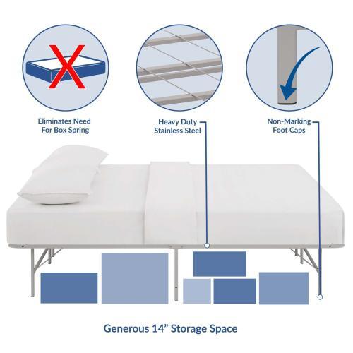 Modway - Horizon Full Stainless Steel Bed Frame in Gray