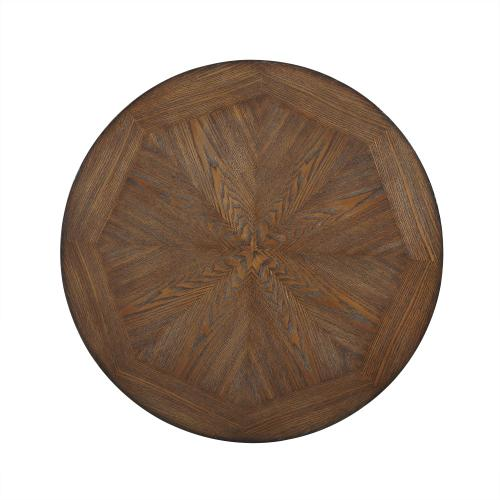 One Small Circular Shelf Cocktail Table, Rustic Umber