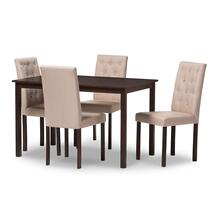 See Details - Baxton Studio Gardner Modern and Contemporary 5-Piece Dark Brown Finished Beige Fabric Upholstered Dining Set