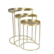 S/3 Metal Crescent & Round Accent Tables, Gold