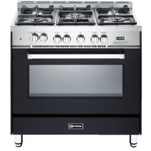 "36"" Dual Fuel Single Oven Range Matte Black 4"" B/G"
