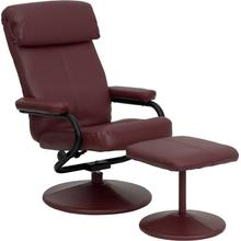 Contemporary Multi-Position Headrest Recliner and Ottoman with Wrapped Base in Burgundy LeatherSoft