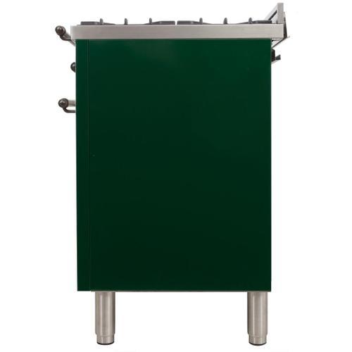 Nostalgie 48 Inch Dual Fuel Natural Gas Freestanding Range in Emerald Green with Bronze Trim