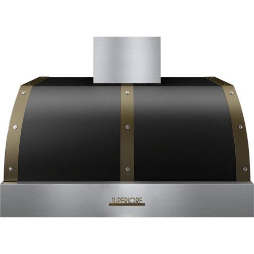 Hood DECO 36'' Black matte, Bronze 1 power blower, electronic buttons control, baffle filters