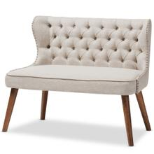 See Details - Baxton Studio Scarlett Mid-Century Modern Brown Wood and Light Beige Fabric Upholstered Button-Tufting with Nail Heads Trim 2-Seater Loveseat Settee