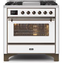 36 Inch White Dual Fuel Natural Gas Freestanding Range