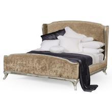 US Cali King Louis XV bed (Silver leaf/Velvet calico)