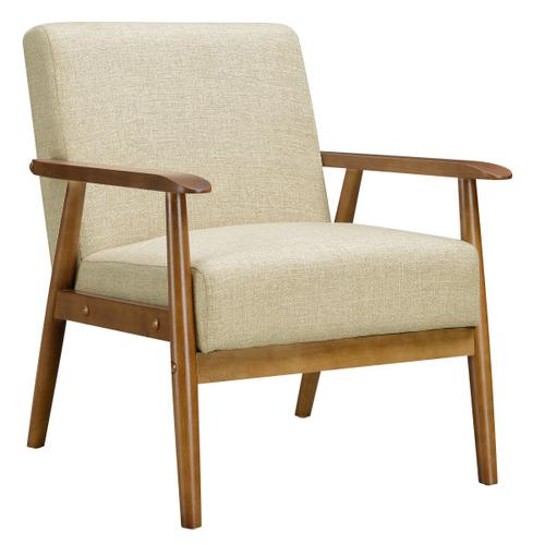 Wood Frame Mid-Century Modern Accent Chair in Soft Beige