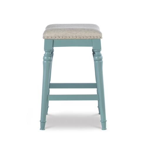 Saddle Seat Counter Stool, Blue and Grey
