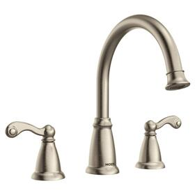 Traditional spot resist brushed nickel two-handle roman tub faucet
