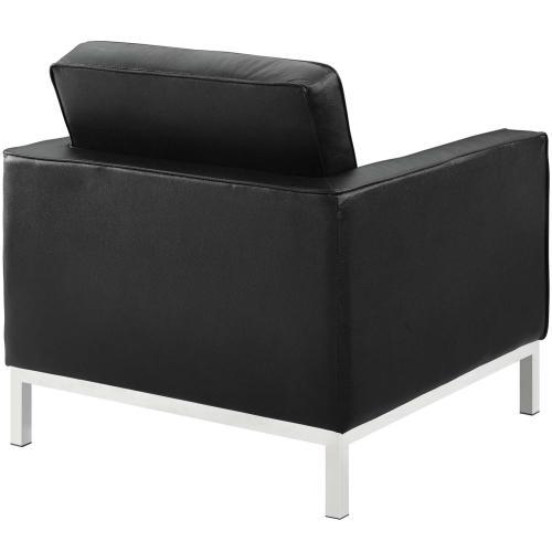 Loft 2 Piece Leather Armchair Set in Black