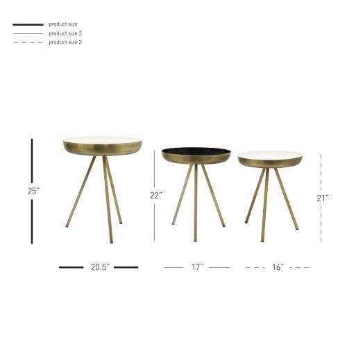 Dane KD Side/ End Table Set of 3, Antique Brass/White/Black