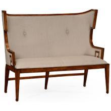 Greek key design Biedermeier walnut upholstered settle