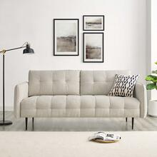 Cameron Tufted Fabric Sofa in Beige