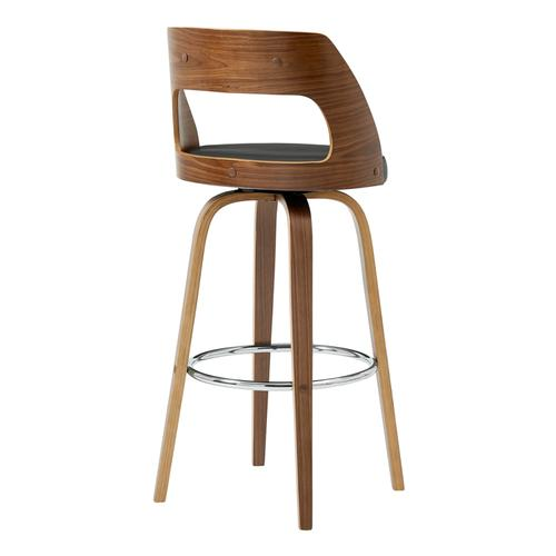 """Armen Living - Axel 30"""" Swivel Bar Stool in Grey Faux Leather and Walnut Wood"""