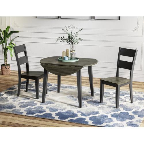 Merrill Creek Round Dropleaf Dining Table, Charcoal & Ebony 8207-4242