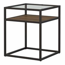 See Details - Glass Top End Table, Rustic Brown Embossed