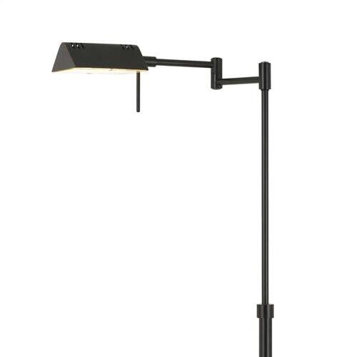 Clemson Metal LED 10W, 780 Lumen, 3K Pharmacy Swing Arm Adjustable Floor Lamp With Dimmer Switch