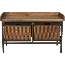 See Details - Noah 2 Drawer Wooden Storage Bench - Antique Pewter / Oak