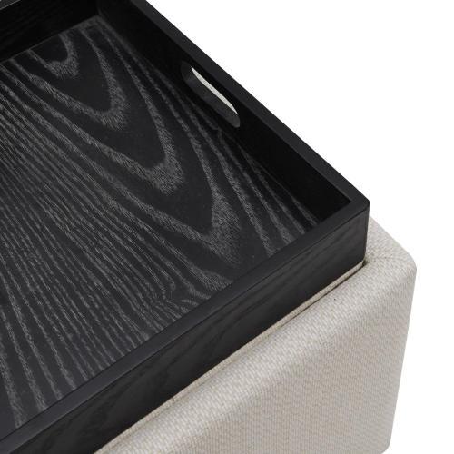 Cameron Square Fabric Storage Ottoman w/ tray, Cardiff Cream