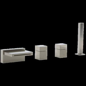 Quarto 4-Hole Deck Mount Tub Filler, Square Control Brushed Nickel Product Image