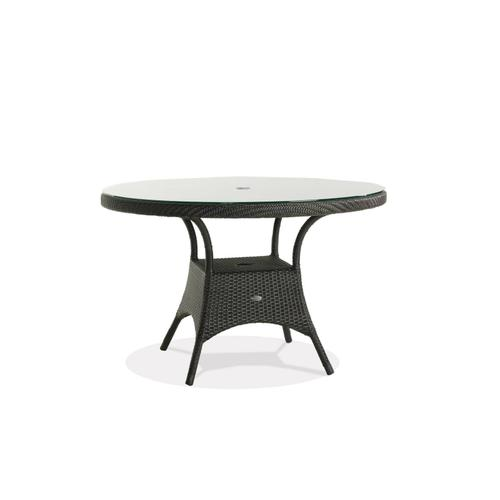 """Palm Harbor 48"""" Rd Dining Table w/Clear Glass & Umbrella Hole"""