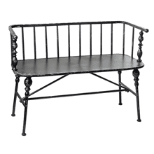 Distressed Black Spindle Bench