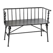 See Details - Distressed Black Spindle Bench