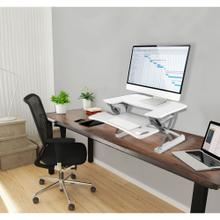 See Details - Hanover 22-In. Wide White Tabletop Sit or Stand Lift Desk with Adjustable Height for Offices, Schools, and Writing Stations, HSD0401-WHT1