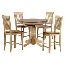 See Details - Round or Oval Butterfly Leaf Pub Table Set w/Fancy Slat Stools (5 piece)