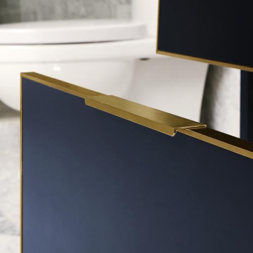 Icera - Gloss White Satin Brass CANTO Metal Trim 36-in Single-Basin Vanity with Carrara Stone Top