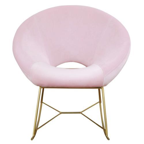 Tov Furniture - Nolan Blush Velvet Rocking Chair