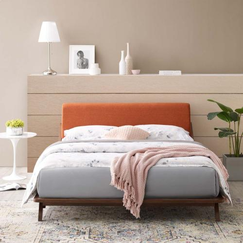 Luella Queen Upholstered Fabric Platform Bed in Walnut Orange