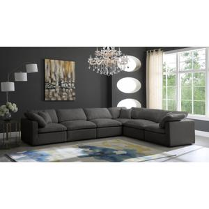 "Plush Velvet Standard Cloud Modular Down Filled Overstuffed Reversible Sectional - 140"" W x 105"" D x 32"" H"