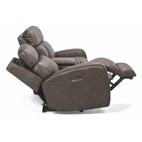 Flexsteel - Tomkins Park Power Reclining Loveseat with Console and Power Headrests